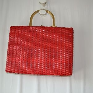 Handbags - Vintage Red Weaved Briefcase